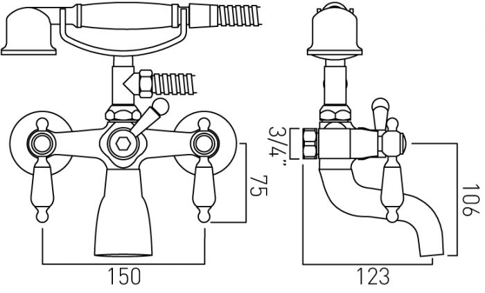 Vado Kensington exposed bath shower mixer with kit