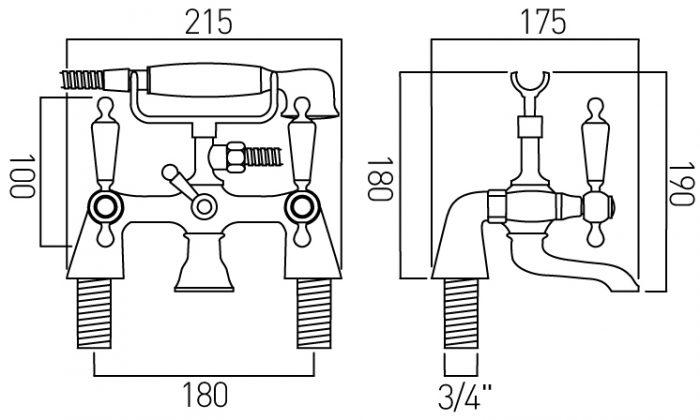 Vado Kensington exposed bath shower mixer KEN-131/CD-C/P