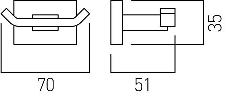 Vado Level double robe hook LEV-186-C/P