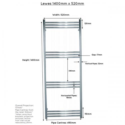JIS Lewes Stainless Steel 1400x520mm Heated Towel Rail-22426