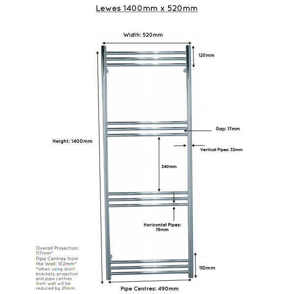 JIS Lewes Stainless Steel 1400x520mm Heated Towel Rail-22426