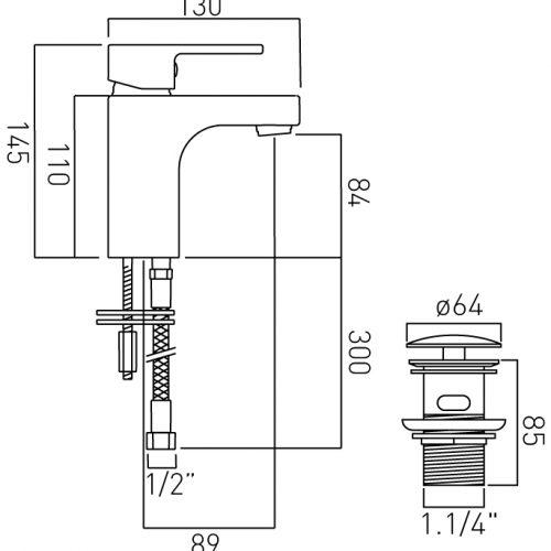Vado Life mono basin mixer with waste LIF-100/CC-C/P