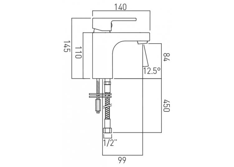 Vado Life mono basin mixer with No waste LIF-100/SB-C/P