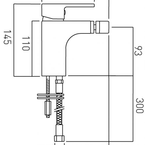 Vado Vado mono bidet mixer without pop-up waste LIF-110/SB-C/P