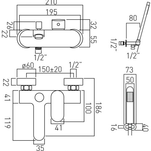 Vado exposed bath shower mixer wall Mounted LIF-123+K-C/P