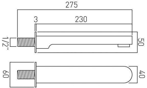 Vado Life low pressure bath spout wall mountd LIF-140-C/P