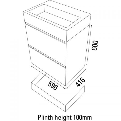 Saneux MATTEO 2 drawer 596mm gloss white unit M0201.2