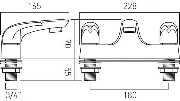Vado 2 hole bath filler deck mounted MAG-137-C/P