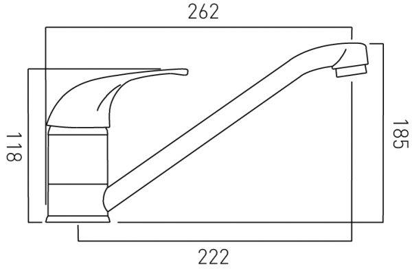 Vado Matrix kitchen sink mixer single lever with spout