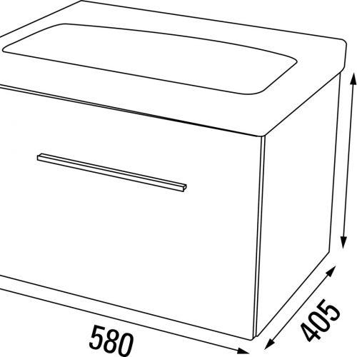 Saneux Monty Grey Colour 60cm Basin Unit ONLY MF8205