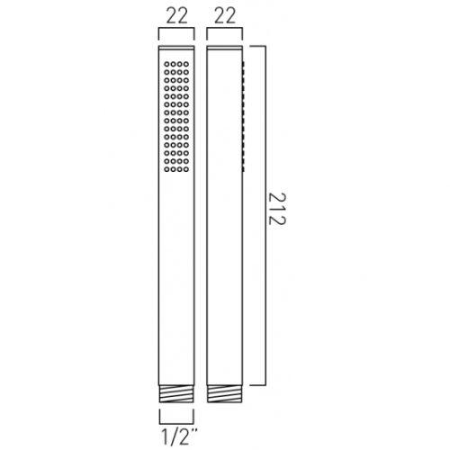 Vado mix single function shower handset MIX-HANDSET-C/P-8047