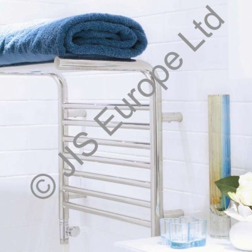 JIS Newhaven Chrome Heated Towel Rail and Shelf Combo