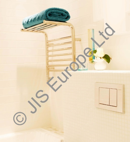 JIS Newhaven Chrome Heated Towel Rail and Shelf Combo