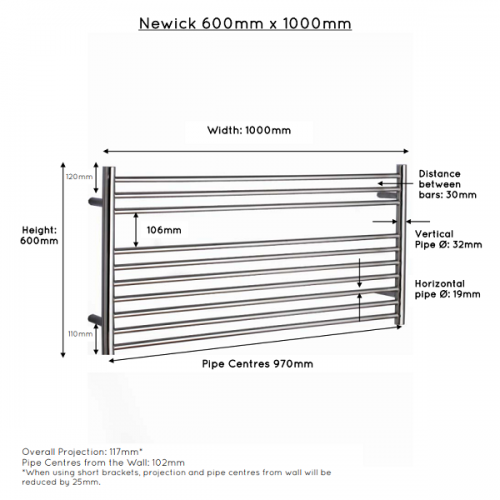JIS Newick 1000 Stainless Steel 600x1000mm Heated Towel Rail-22404