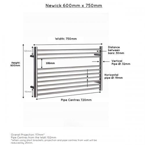 JIS Newick 750 Stainless Steel 600x750mm Heated Towel Rail-22402