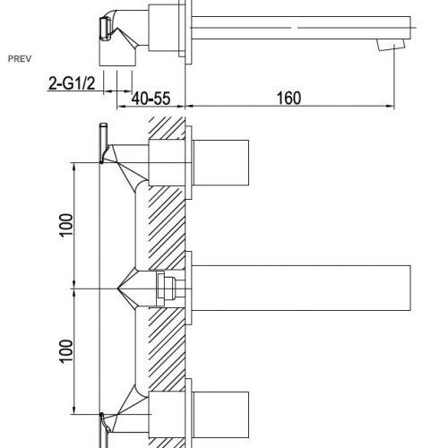 Saneux Nicholson wall-mounted 2-handle basin monobloc NI105