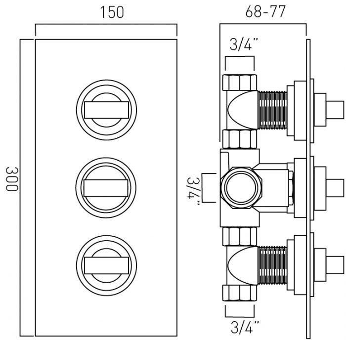 Vado Notion 2 way thermostatic valve NOT-128C-3/4-C/P