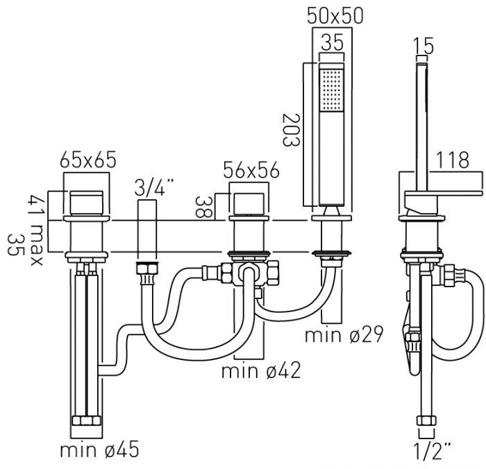Vado Notion 3 hole bath mixer for bath filler NOT-132/NS-C/P