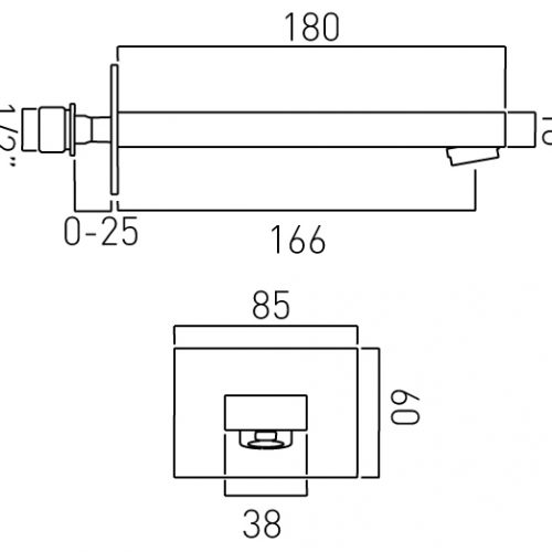Vado modern square wall mounted bath spout NOT-140-C/P