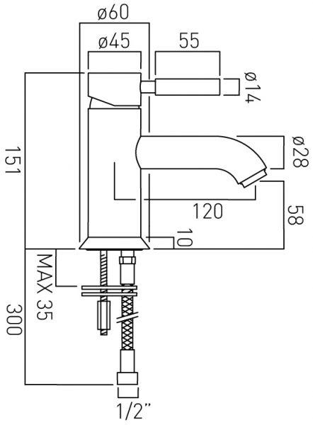 vado mono basin mixr single lever no waste ORI-100/SB-C/P
