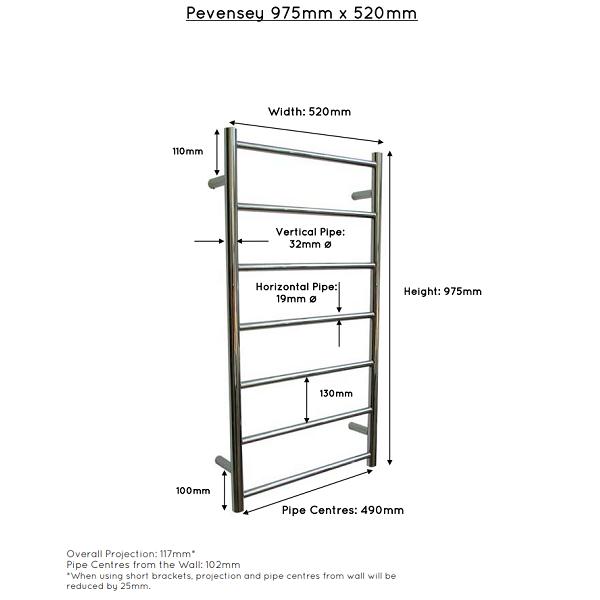 JIS Pevensey Stainless Steel 975x520mm Heated Towel Rail-22412