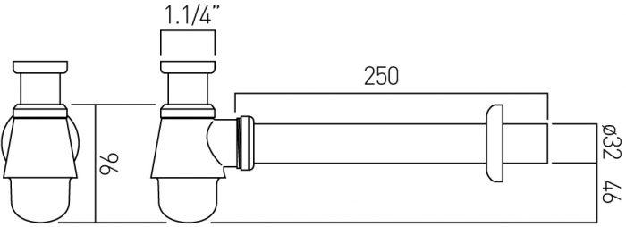 "Vado bidet bottle trap 1.1/4"" x 1.1/4"" PEX-462-C/P"
