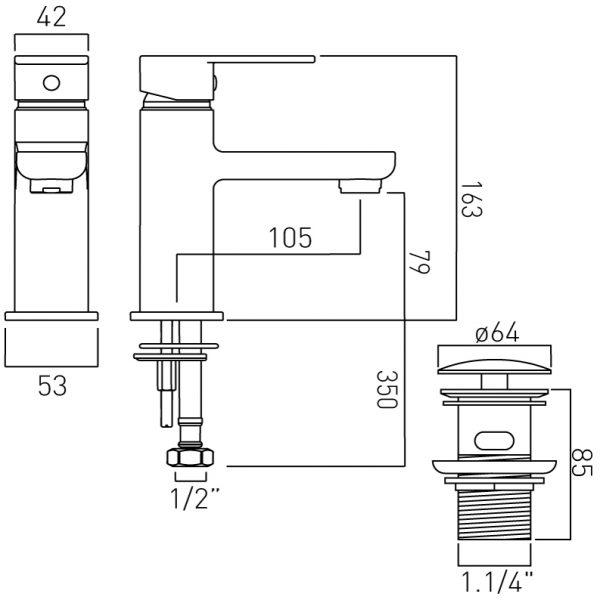 Vado mono basin mixr single levr and waste PHA-100/CC-C/P