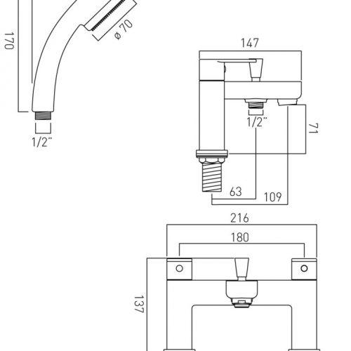 Vado 2 hole bath shower mixer and showr kit PHA-130+K-C/P