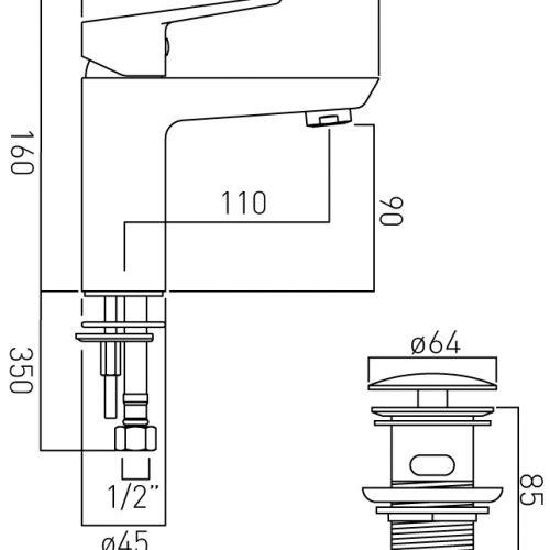 Vado Photon mono basin mixer tap waste PHO-100/CC-C/P