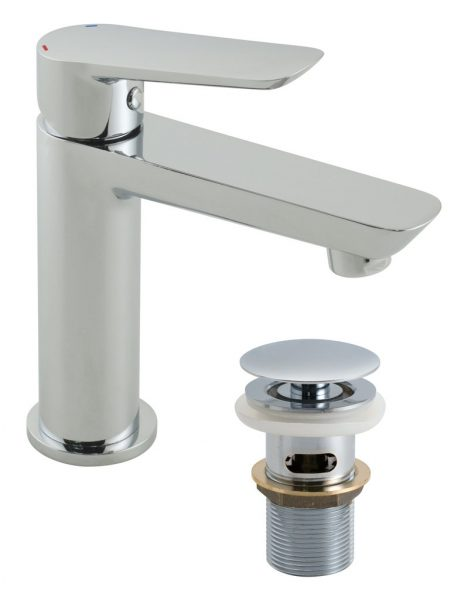Vado Photon mini basin tap with waste PHO-100M/CC-C/P