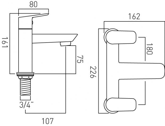 Vado Photon 2 hole bath filler tap deck mntd PHO-137-C/P