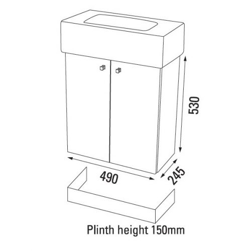 Saneux White gloss plinth for QU2501 PLMQU2501