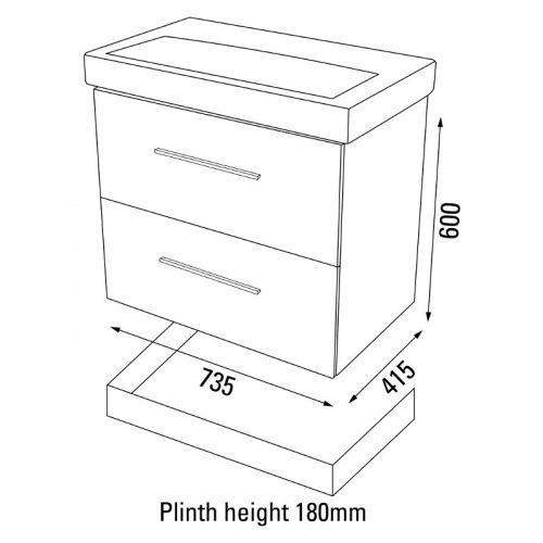 Saneux Panoramic/Monty 75cm plinth PLP7502