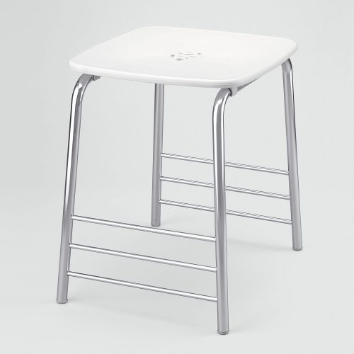 Prima Classe 44cm High Stool in white & chrome 6072-23-0