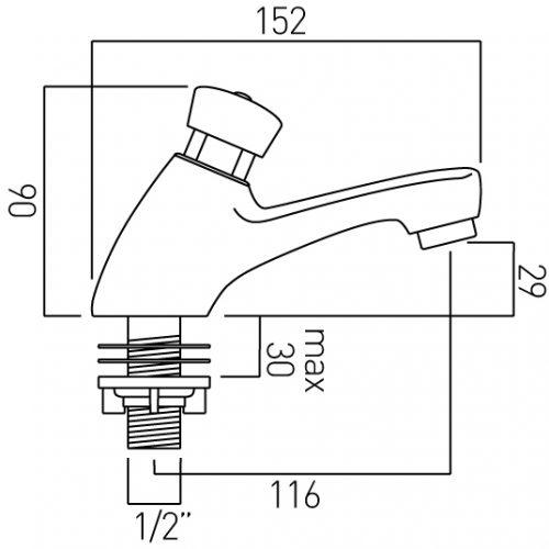 Vado single non-concussive basin tap PRO-167/C+H-C/P