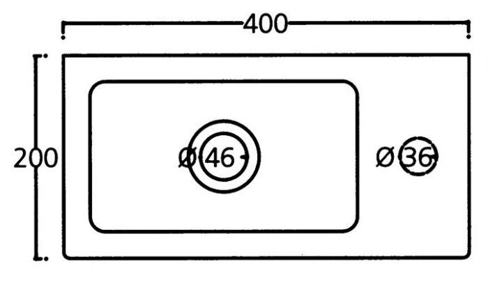 Saneux Quadro 40 x 20cm Right Hand Tap Hole Washbasin-4476