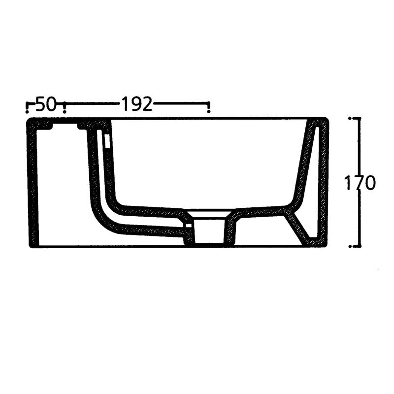 Saneux Quadro 40 x 20cm Right Hand Tap Hole Washbasin-4474