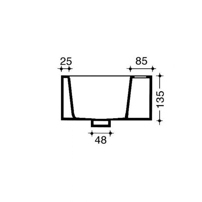 Saneux Quadro Cloakroom NO Tap Hole 50cm Washbasin QU27.0