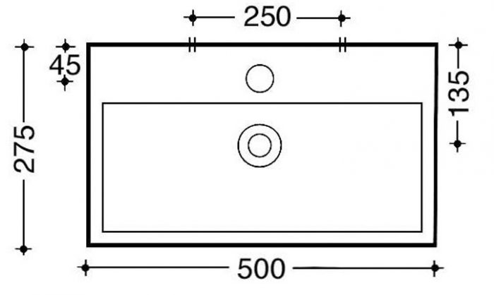 Saneux Quadro Cloakroom One Tap Hole Wash basin QU27