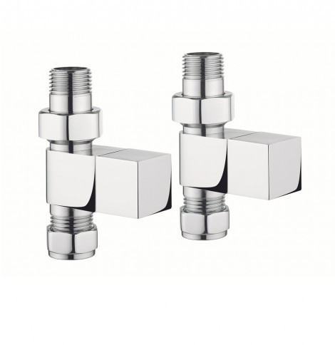 Crosswater Elite square straight rad valves chrome RADVS2