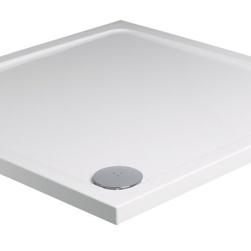Roman square 760 x 760mm white shower tray with waste RLT76