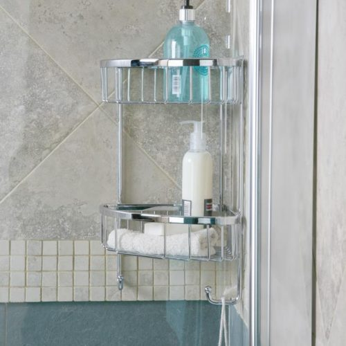 Roman double corner shower basket with hooks RSB05