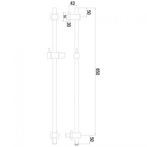 Saneux 65cm Slide rail kit with handset hose and outlet S1007
