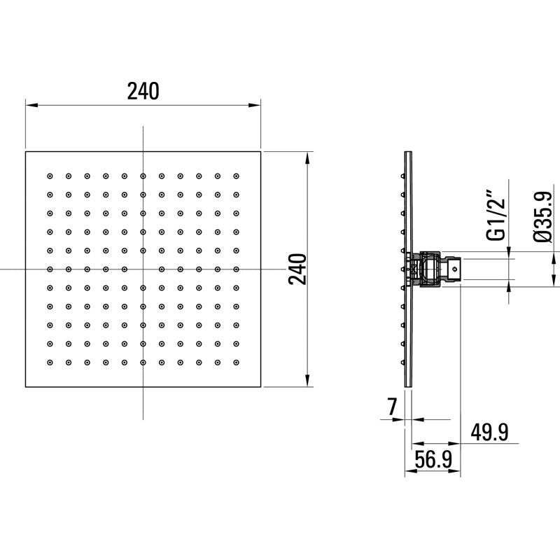 Saneux SLIM 240mm square shower head S1074
