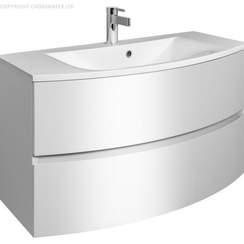 Crosswater Svelte 100 Unit and Basin White SE1000DWG SE1011SRW