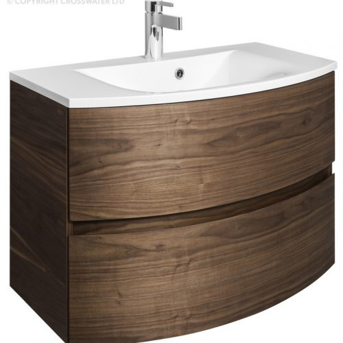 Bauhaus Svelte 80 Unit and Basin Walnut SE8000DAW SE0811SRW