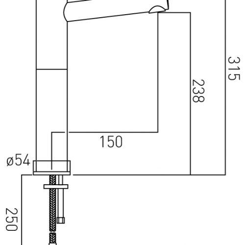 Vado Sense extended mono basin mixer No waste SEN-100E/SB-C/P