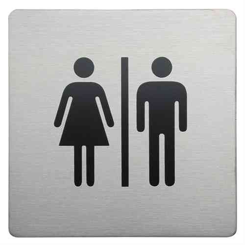 Bathroom Origins Sign Square Male and female brushed 8925-0