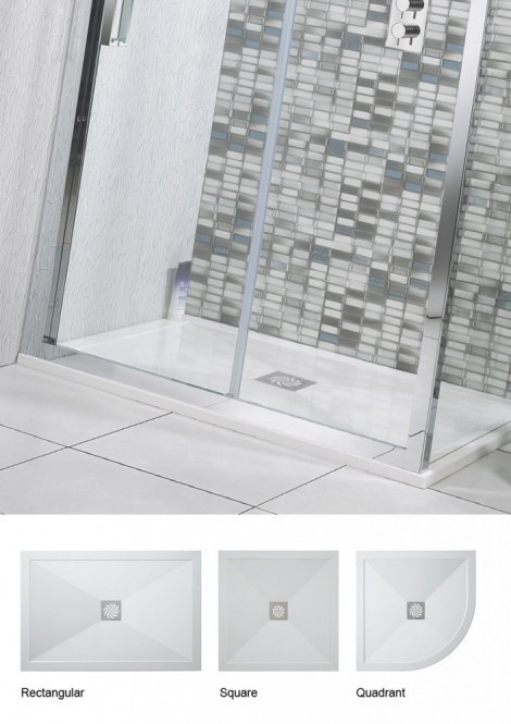 Crosswater 1000mm x 760mm 25mm Stone Resin Shower Tray SL0R71000