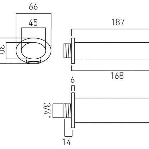 Vado Soho modern bath spout wall mounted SOH-140-C/P